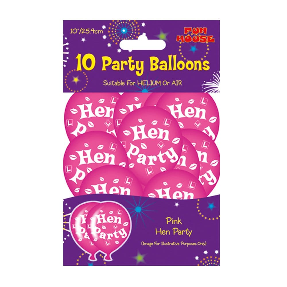 10 X Pink Hen Party Helium Or Air Filled Balloons With