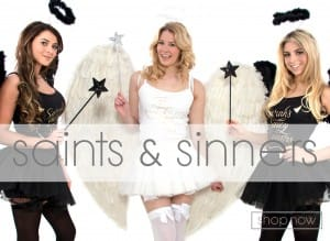 23ce6d0f0d6 saints and sinners Saints and Sinners. The classic hen party fancy dress ...