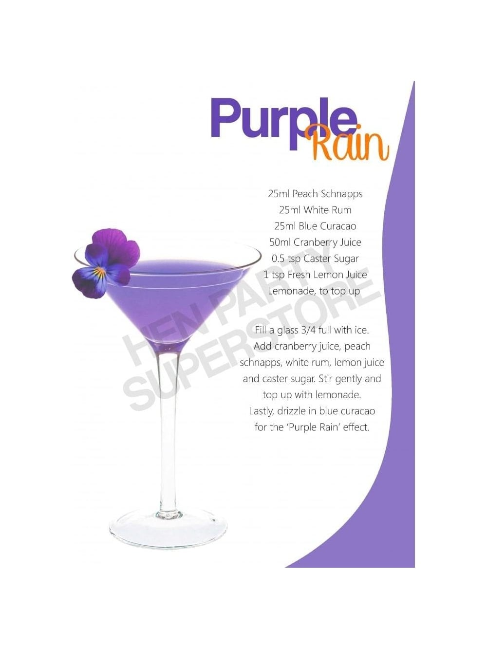purple rain cocktail recipe hen party superstore