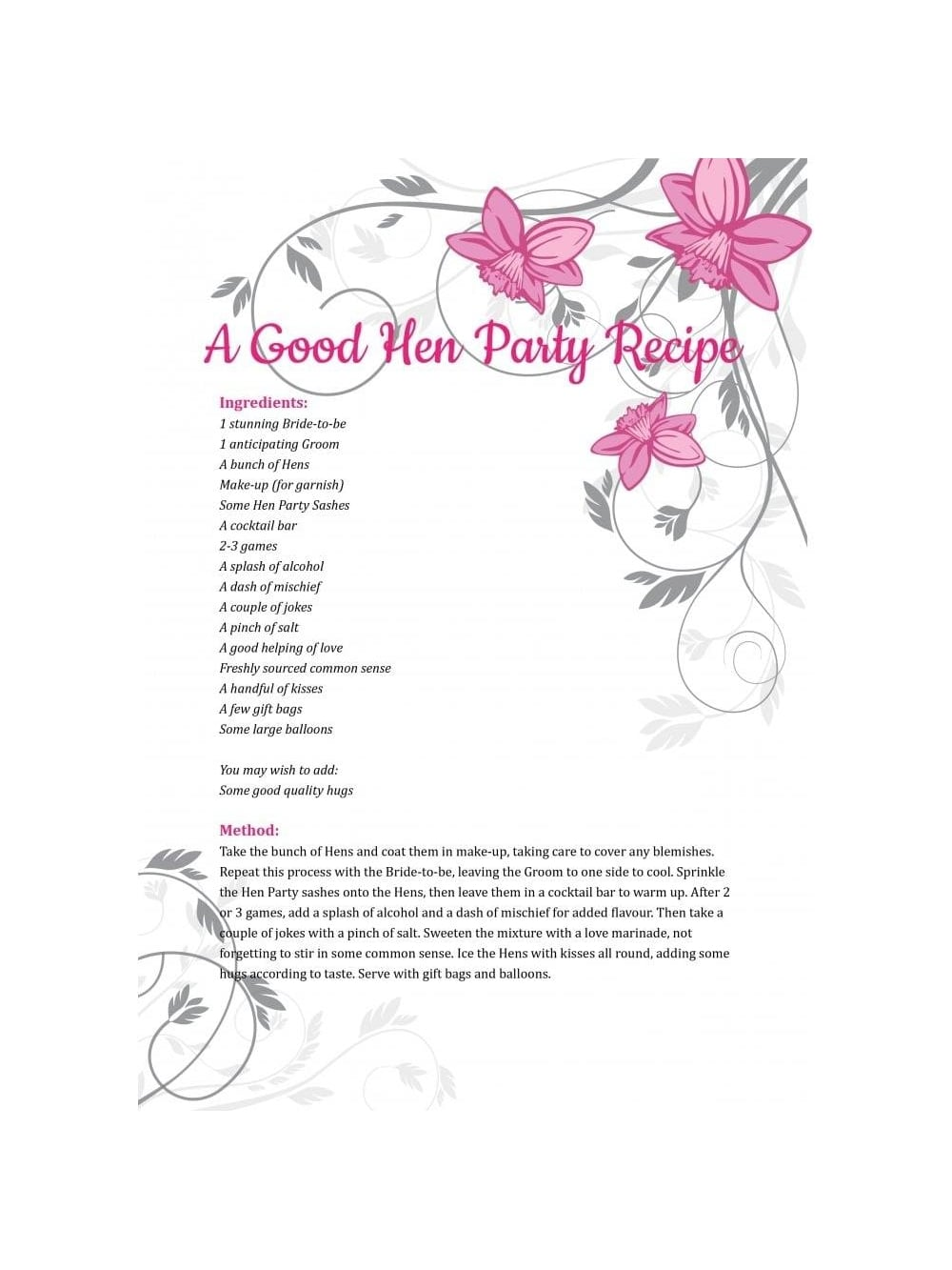 Hen Party Poem - A Good Hen Party Recipe | Hen Party Superstore