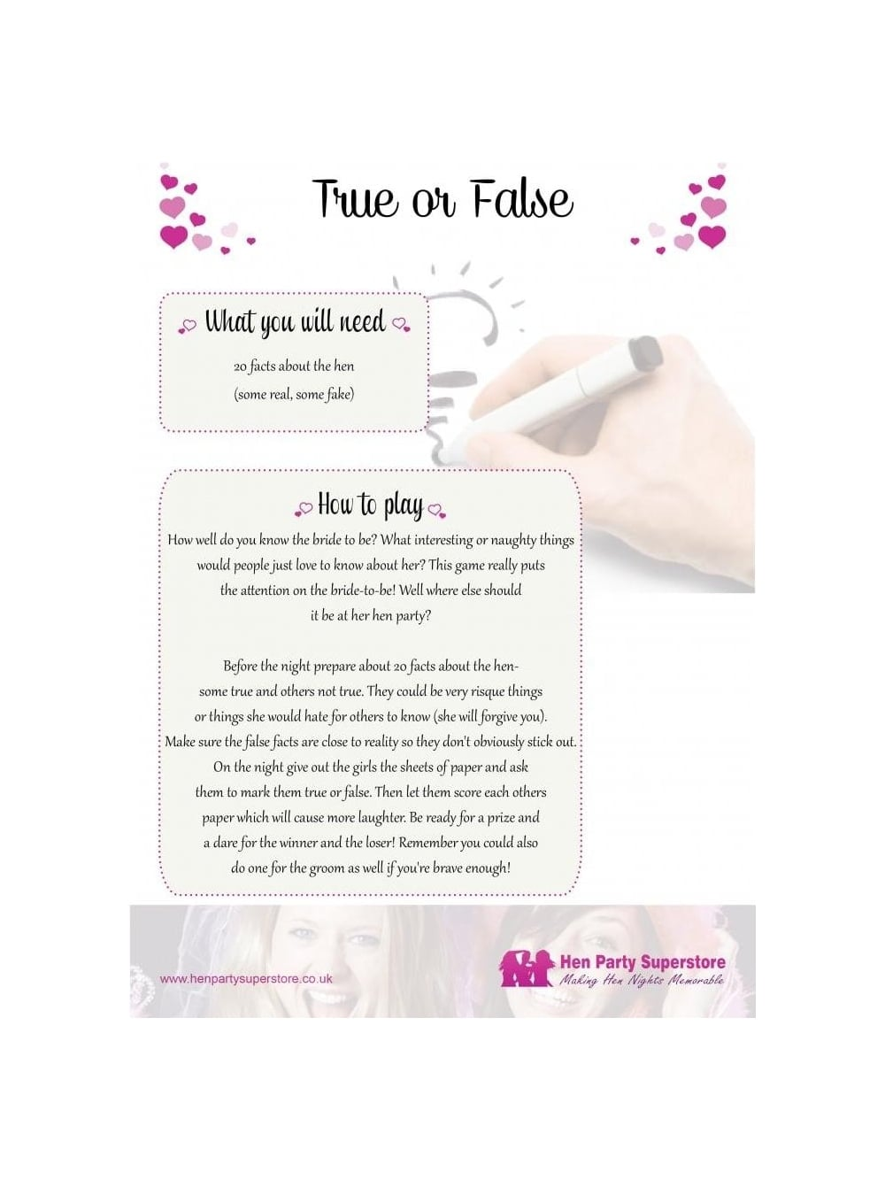 True Or False Free Hen Party Game | Hen Party Superstore