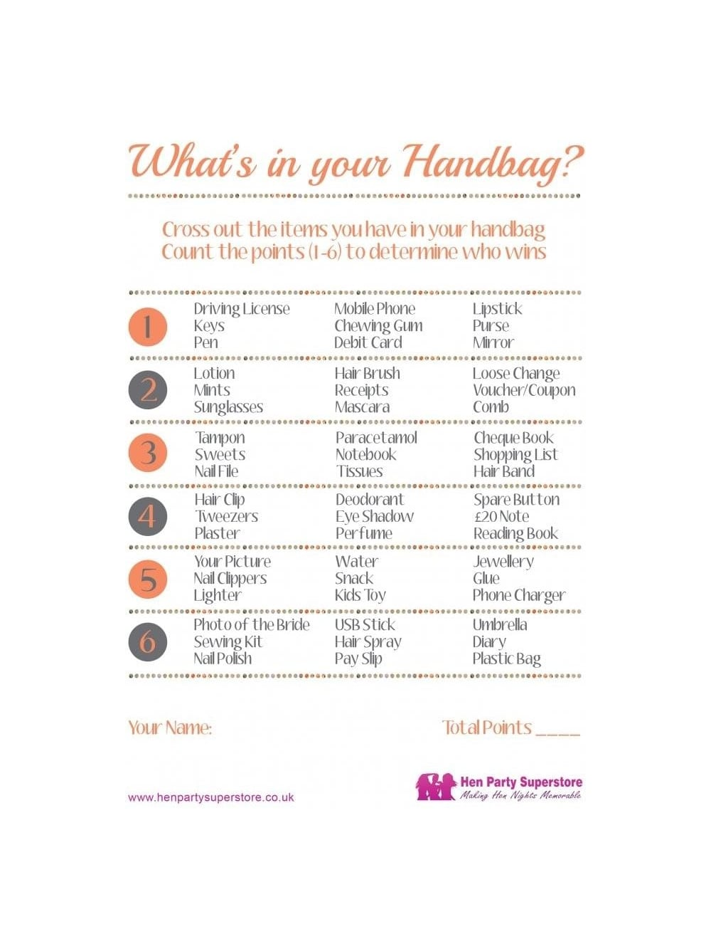What\'s In Your Handbag Free Hen Party Game | Hen Party Superstore