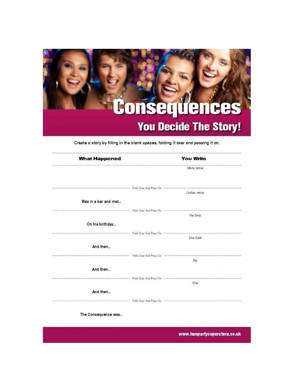 Consequences Free Hen Party Game | Hen Party Superstore