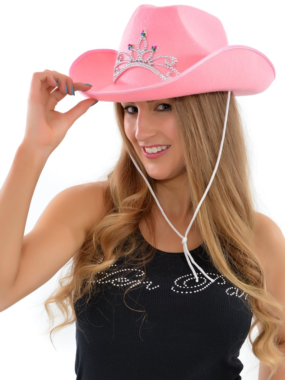 Pink Cowgirl Hat with Silver Tiara  sc 1 st  Hen Party Superstore & Pink Cowgirl Hen Night Hat | Hen Party Superstore