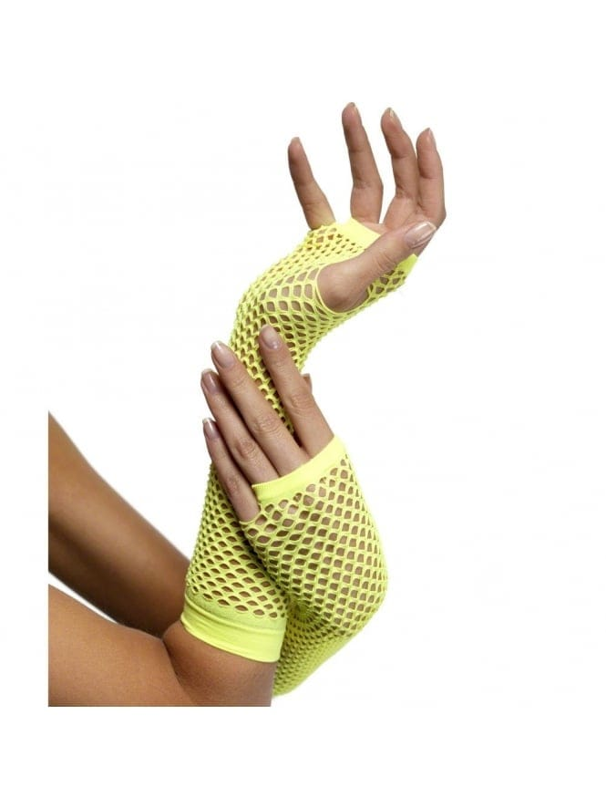 Neon Long Finger-less Fishnet Gloves (7 Colours)
