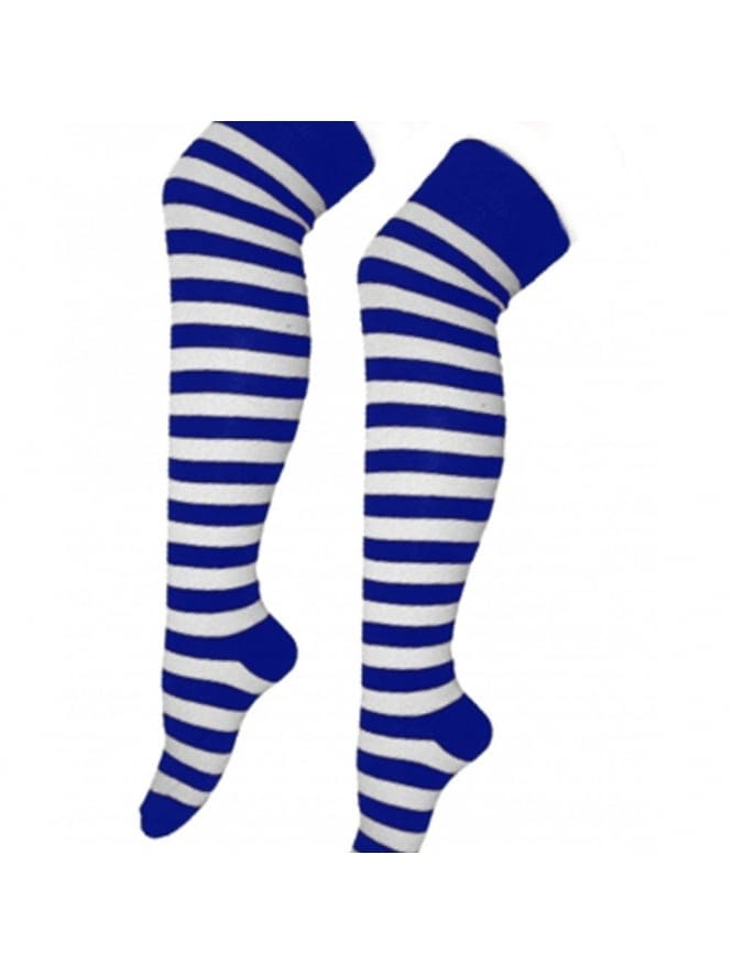 Sexy Sailor Over The Knee Blue & White Socks