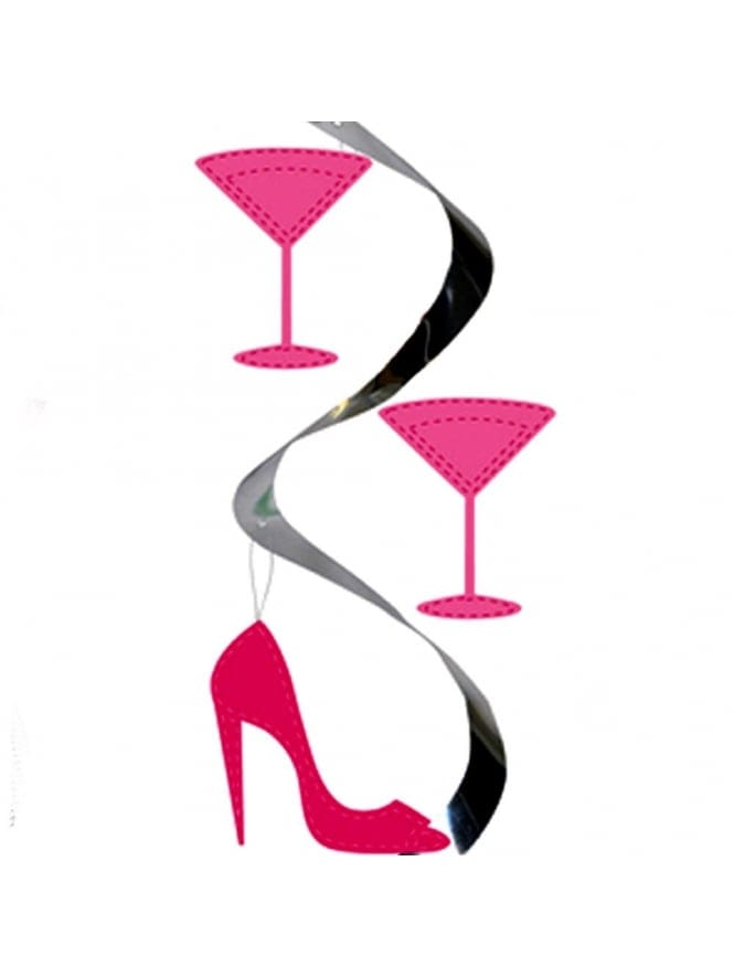 x5 Hen Party Hanging Shoe & Cocktail Glass Decoration