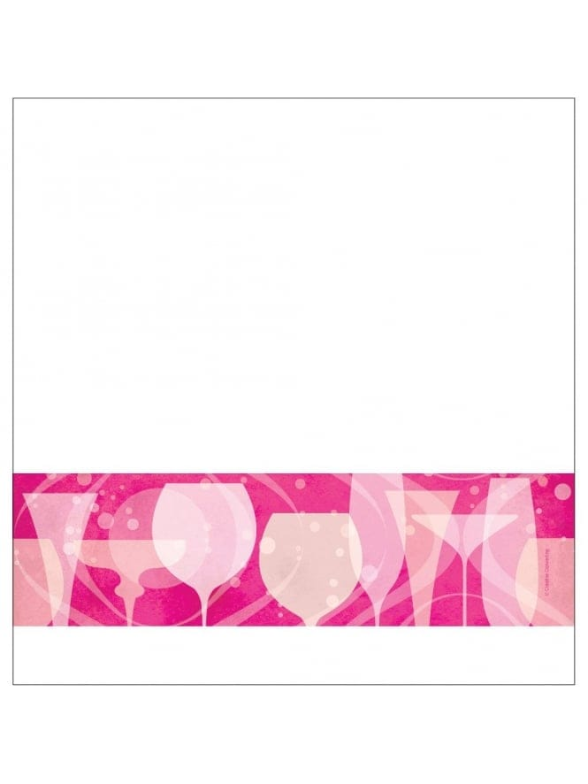 Hen Party Plastic Table Cover With Cocktail Glasses Pink