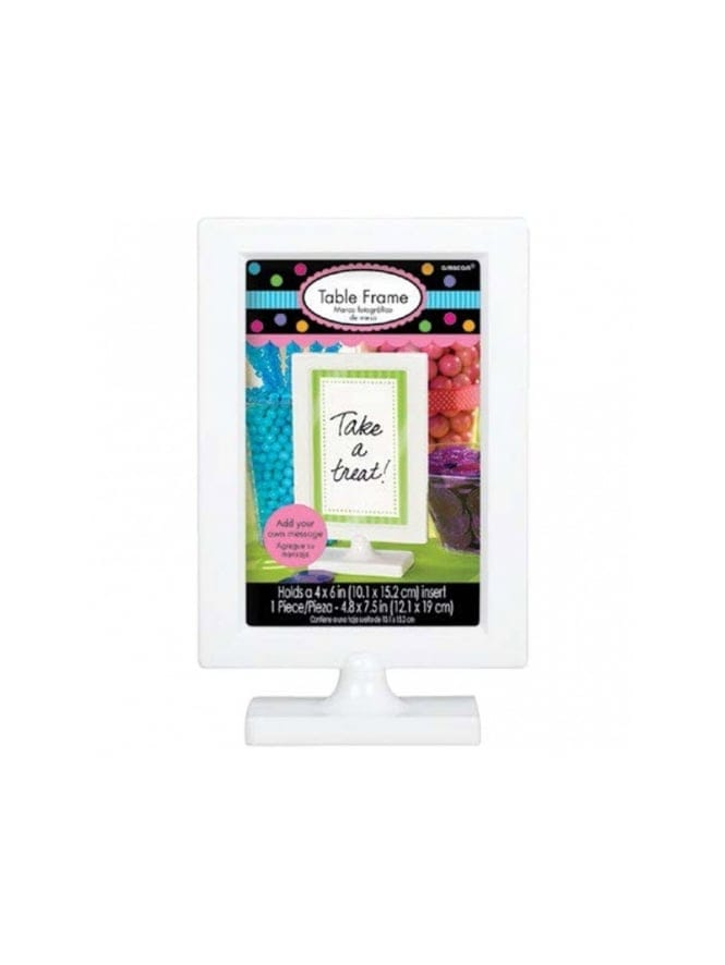 White Plastic Candy Buffet Picture Frame Sign