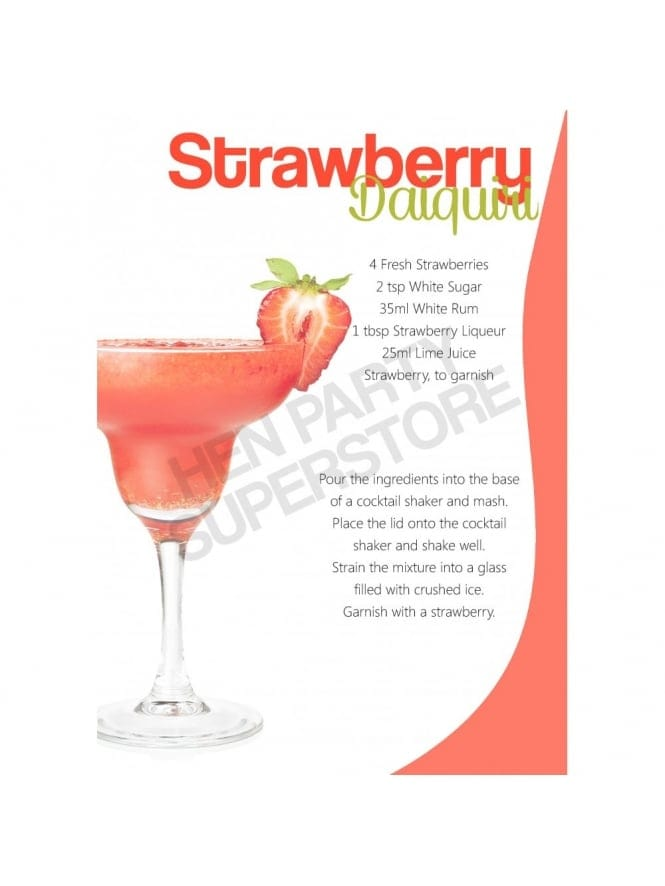 Strawberry Daiquiri Cocktail Recipe Hen Party Superstore