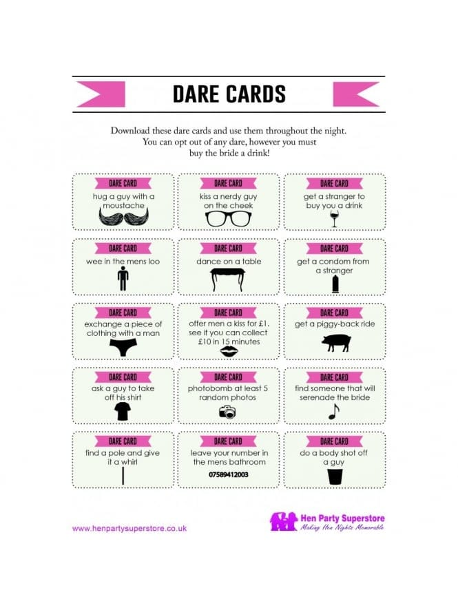 Free Dare Cards Hen Party Game Hen Party Superstore