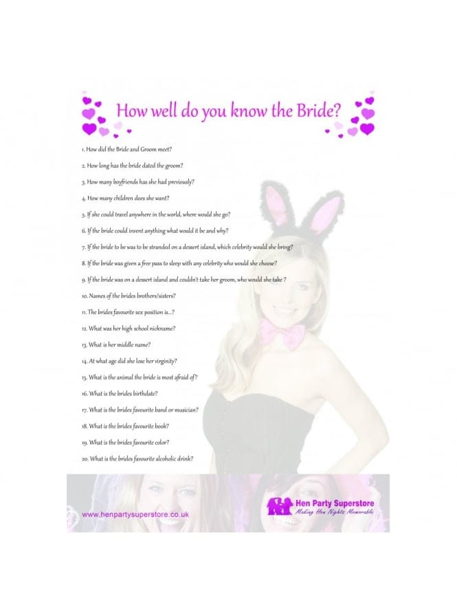 How Well Do You Know The Bride Free Hen Party Game