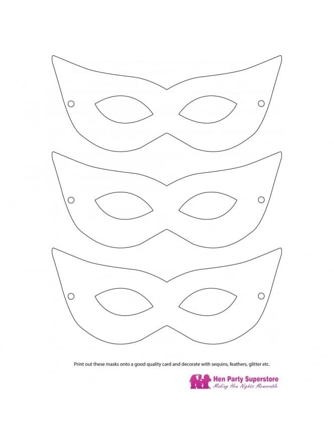 Hen Party Mask Templates Hen Night Games Printout