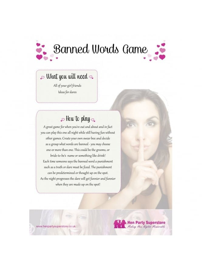 Banned Words Free Hen Party Game