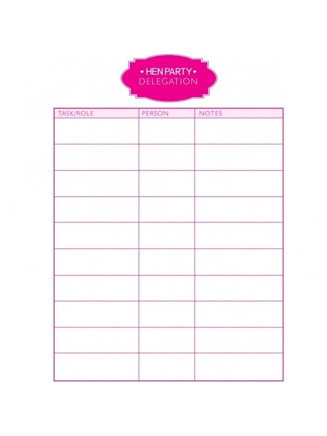 Hen Party Delegation Sheet