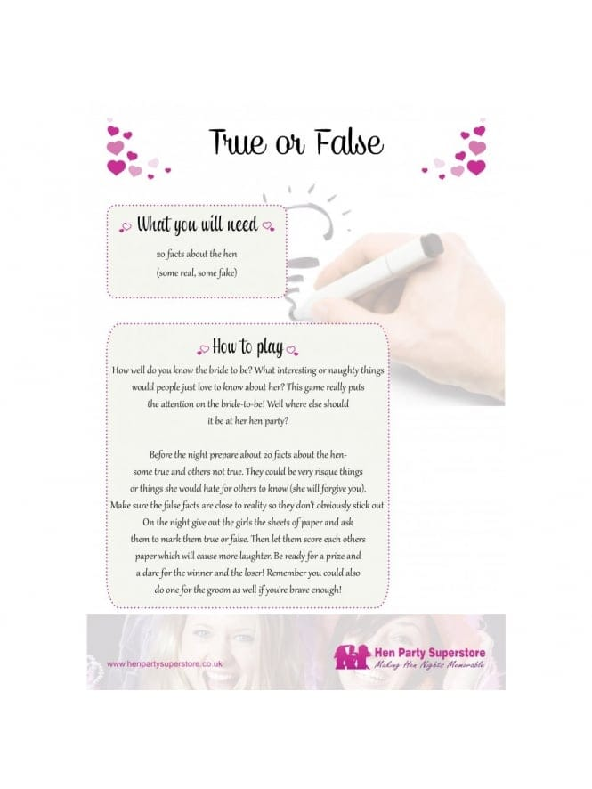 True Or False Free Hen Party Game