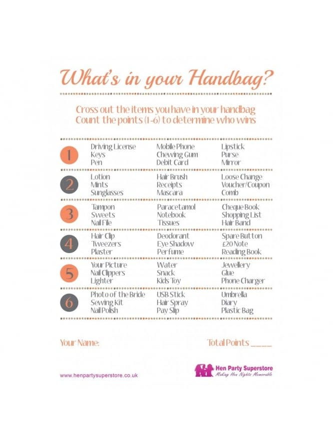 What's In Your Handbag Free Hen Party Game