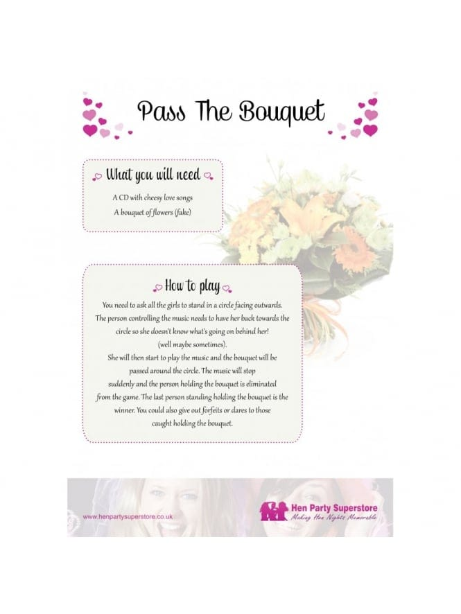 Pass The Bouquet Free Hen Party Game