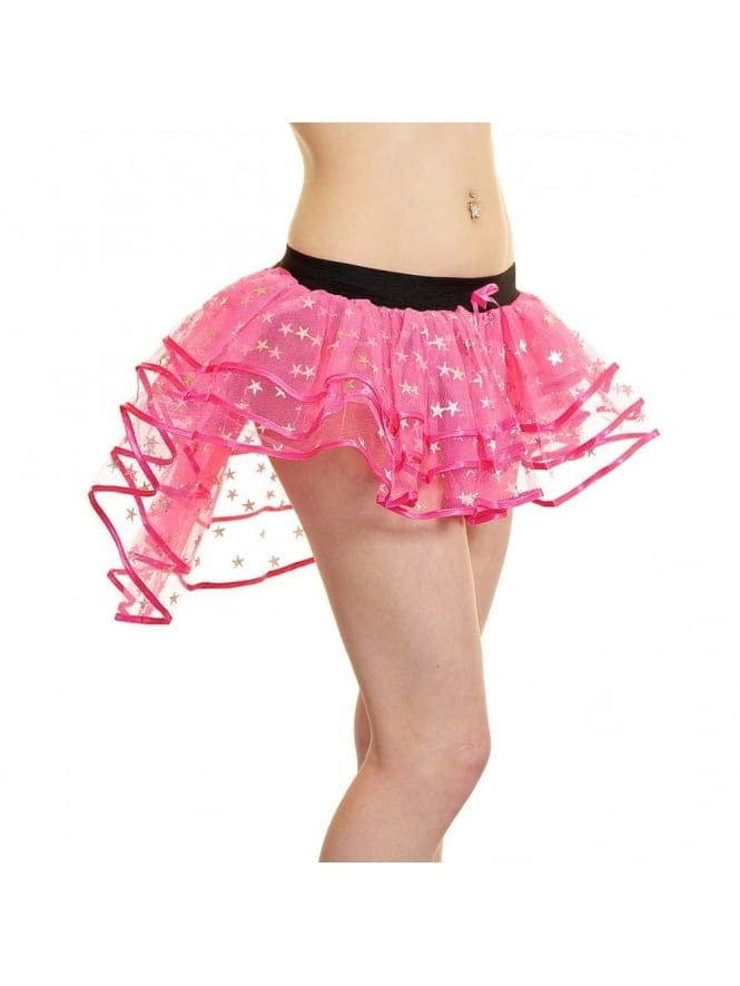 Sexy 3 Layer Pink Net Tutu with Silver Stars