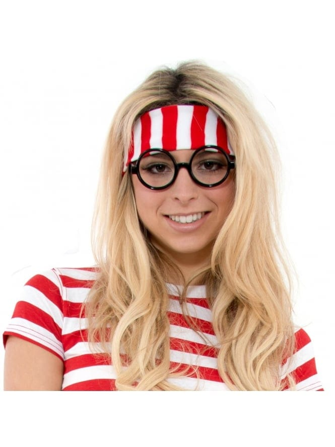 Fancy Dress Book Character Striped Red/White Headband