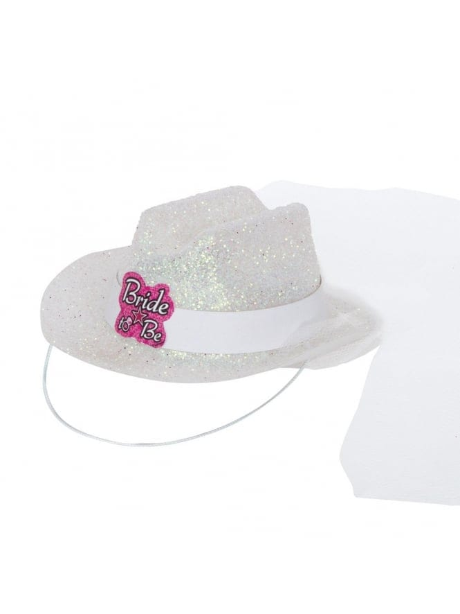 Mini Bride To Be Fancy Dress Cowgirl Hat With Veil