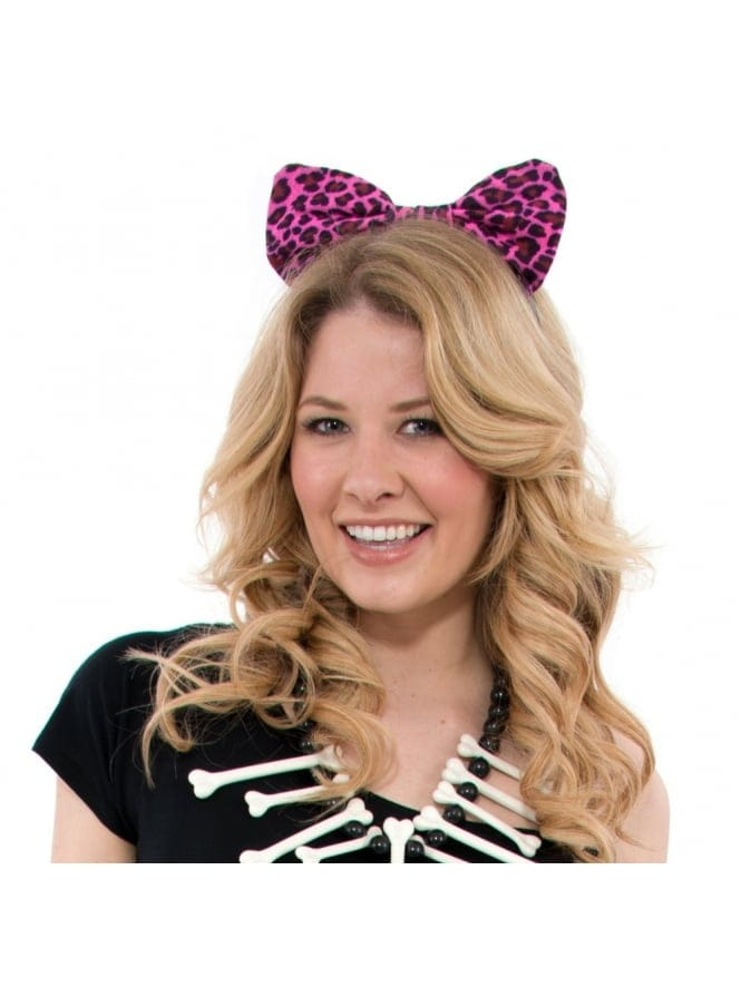 Pink Leopard Print Hair Bow Headband Cavegirl Fancy Dress Accessory