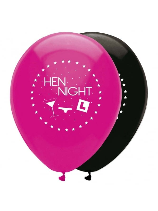 X6 Hen Night Balloons With Cocktail Glass
