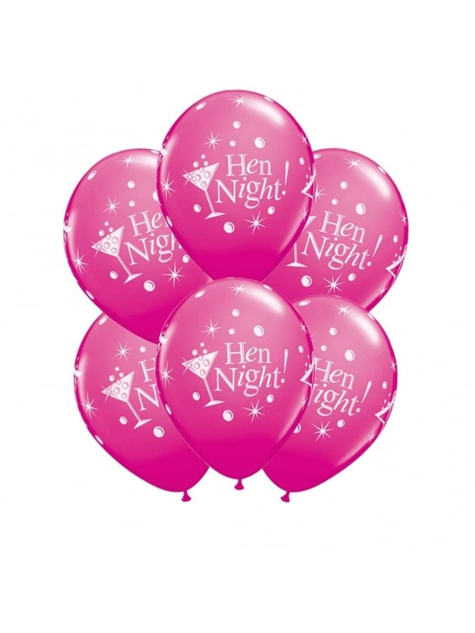 Hen Party Balloons With Cocktail Glass (Pack of 6)