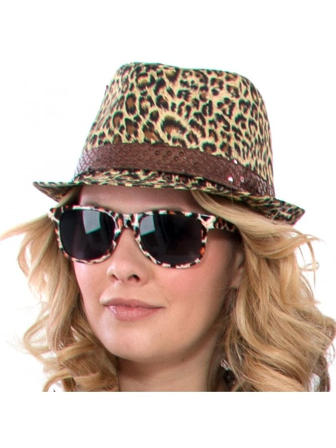 Fancy Dress Cavegirl Fedora Hat/Leopard Print Accessories