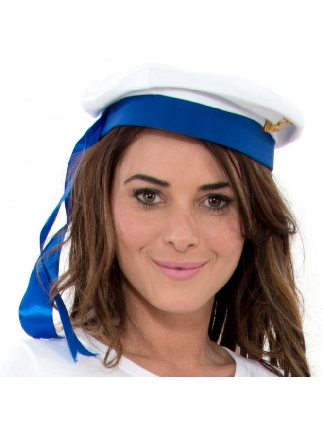 Adults Sailor Hat White with Blue Trim
