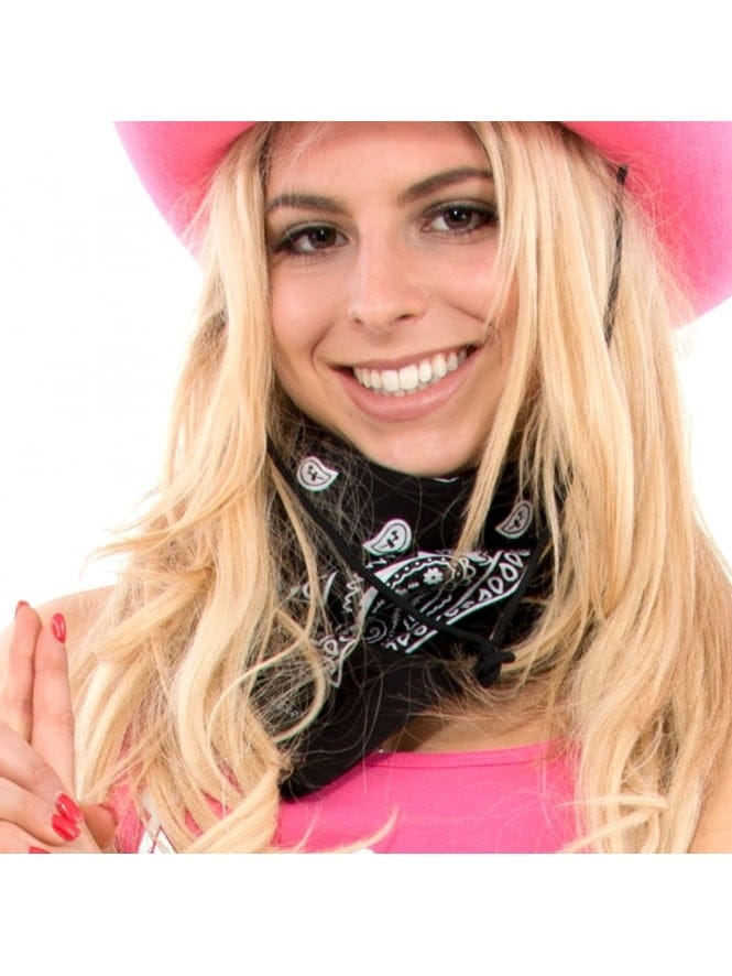 Fancy Dress Cowgirl Paisley Printed Black Bandanna