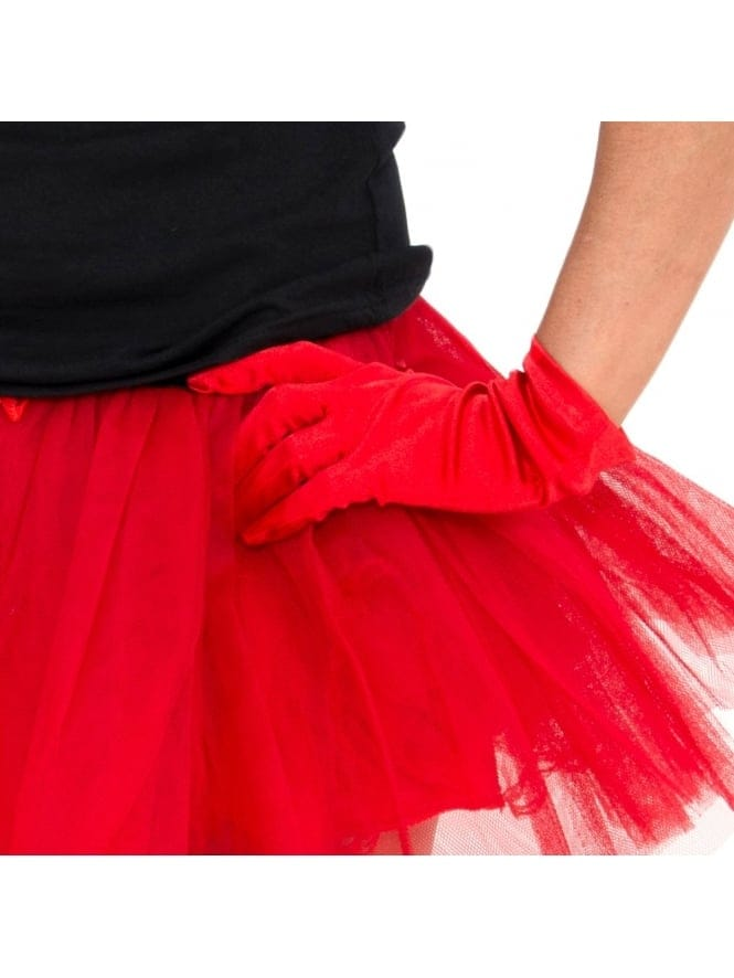 Hen Party Fancy Dress Red Short Satin Gloves