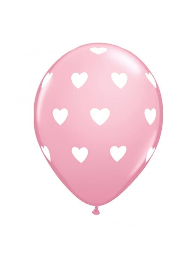 X6 Pink Hen Night Party Balloons With Hearts