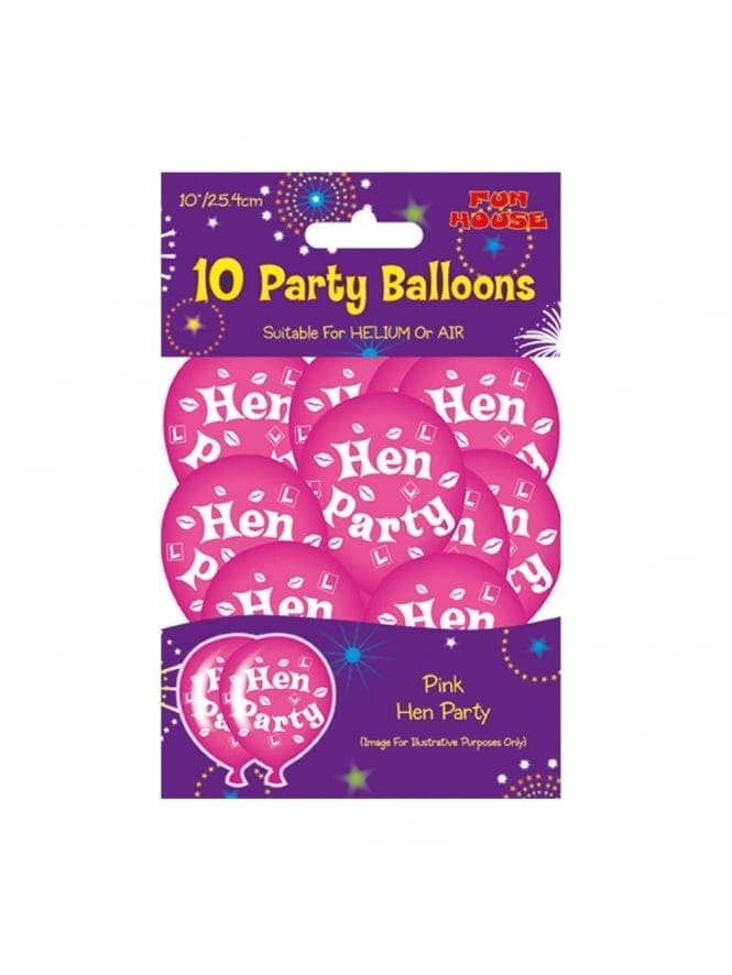 Hen Party Printed Air or Helium Balloons (Pack of 10)