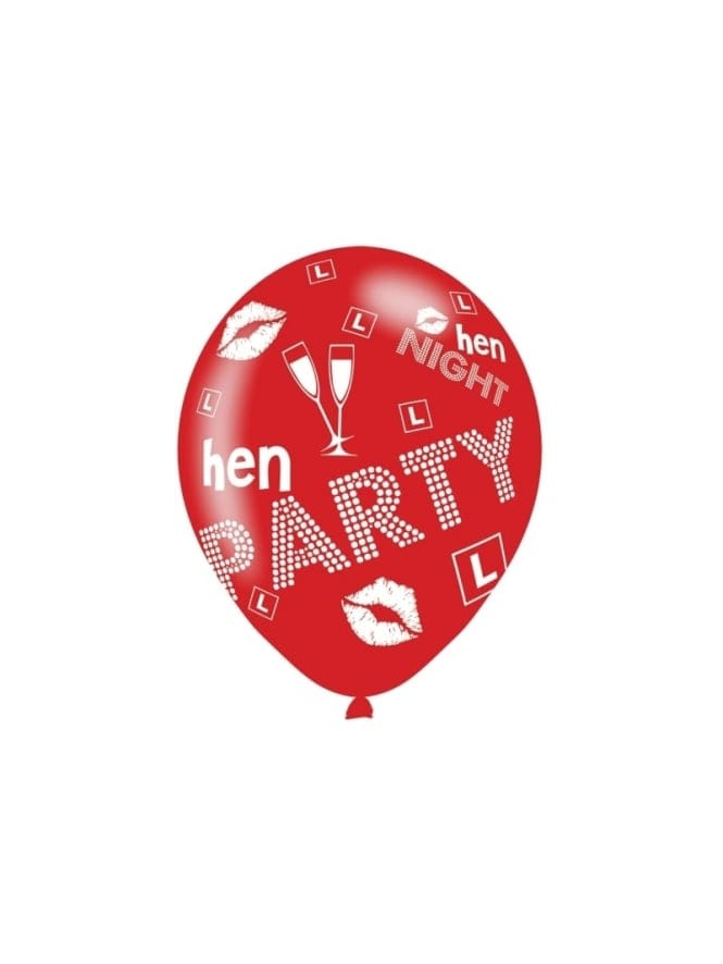 x6 Pack Hen Party Latex Balloons Pink & Red