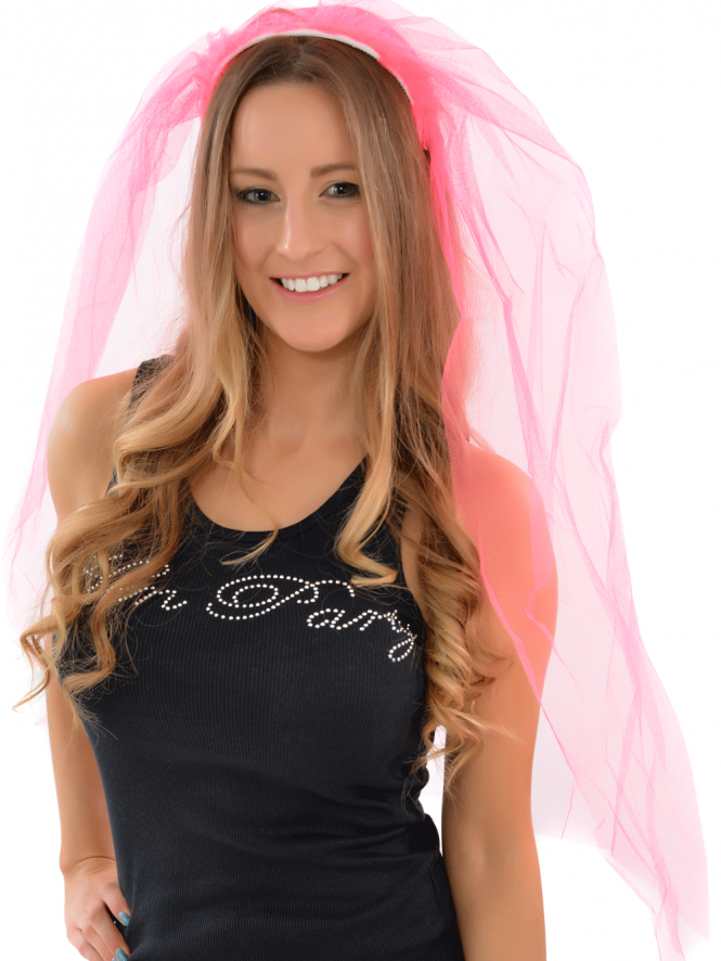 Bright Pink Bride To Be Veil On Headband