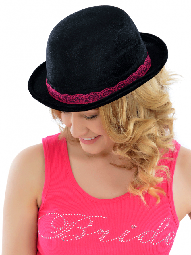 Hen Party Black Bowler Hat With Pink Lace
