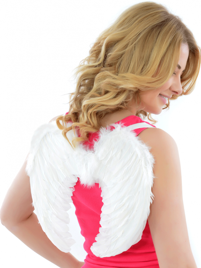 Mini White Feather Hen Party Wings