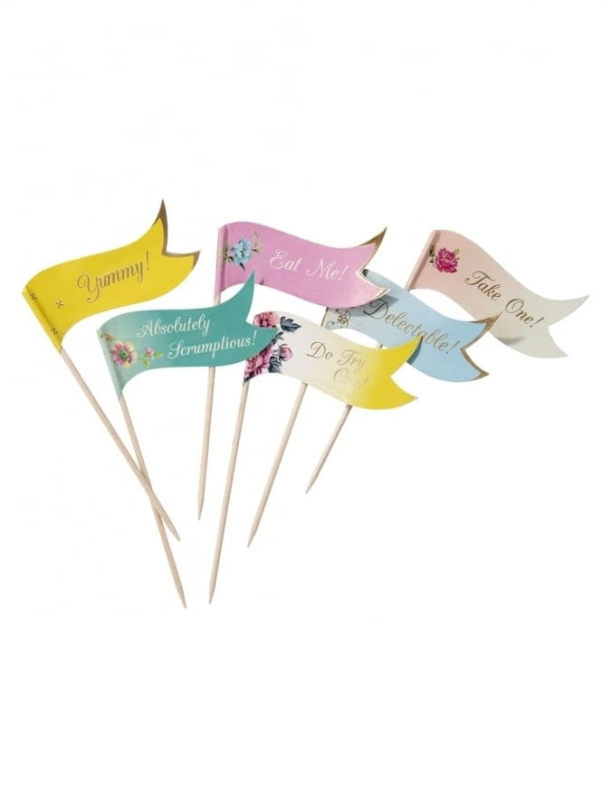 Vintage Canape Flag Picks Pack Of 24