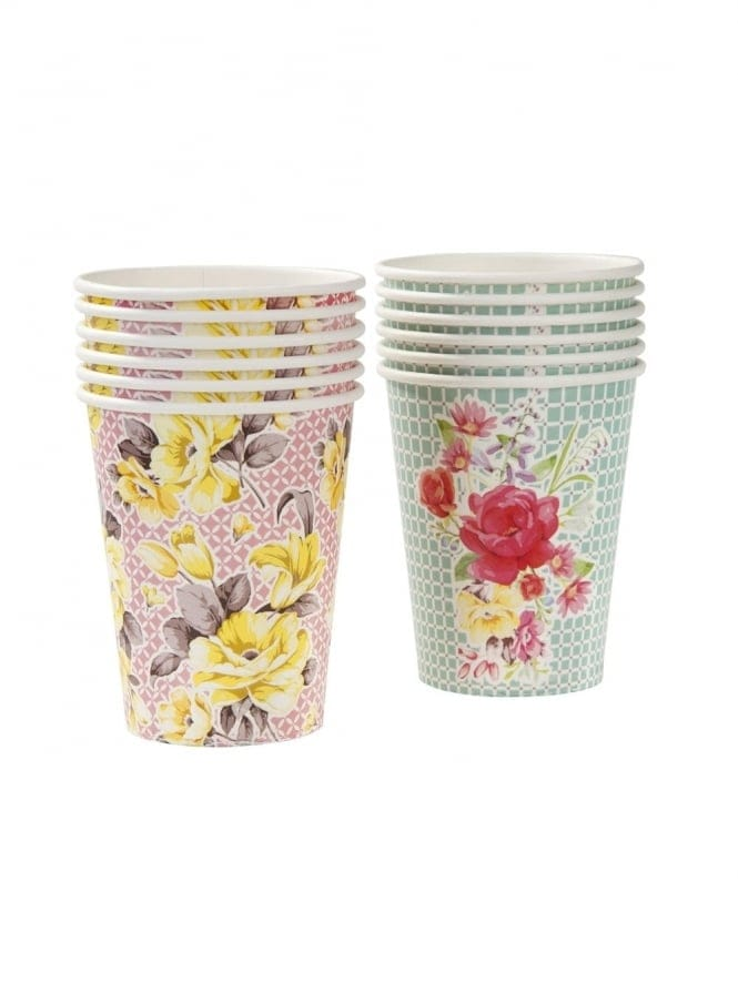 Vintage Paper Party Cups Pack Of 12 In 2 Designs