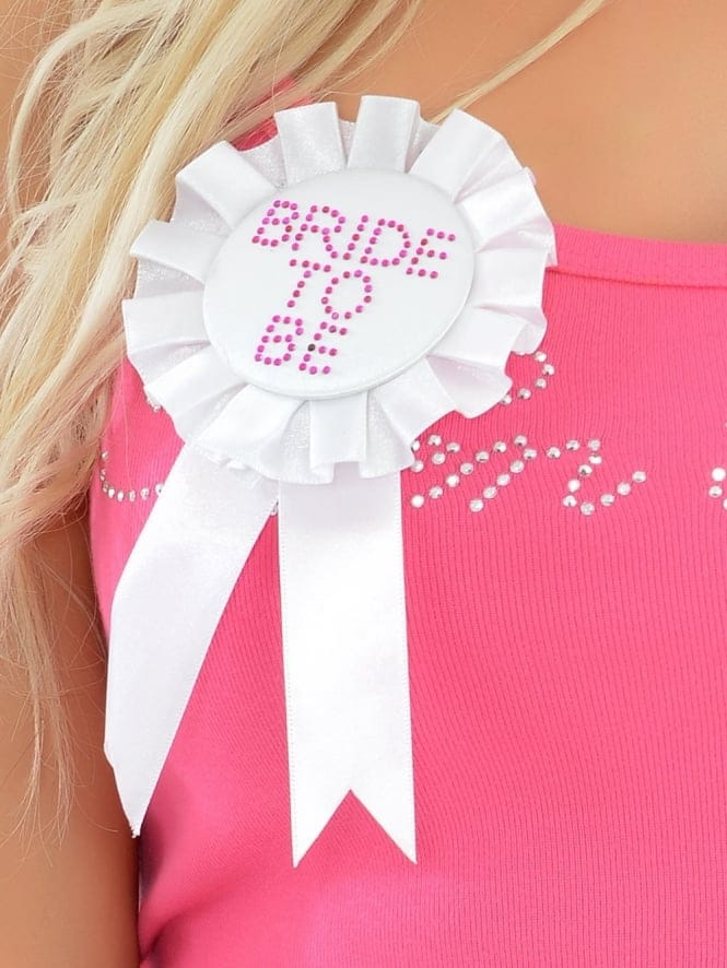 Bride To Be Diamante Rosette/Badge White