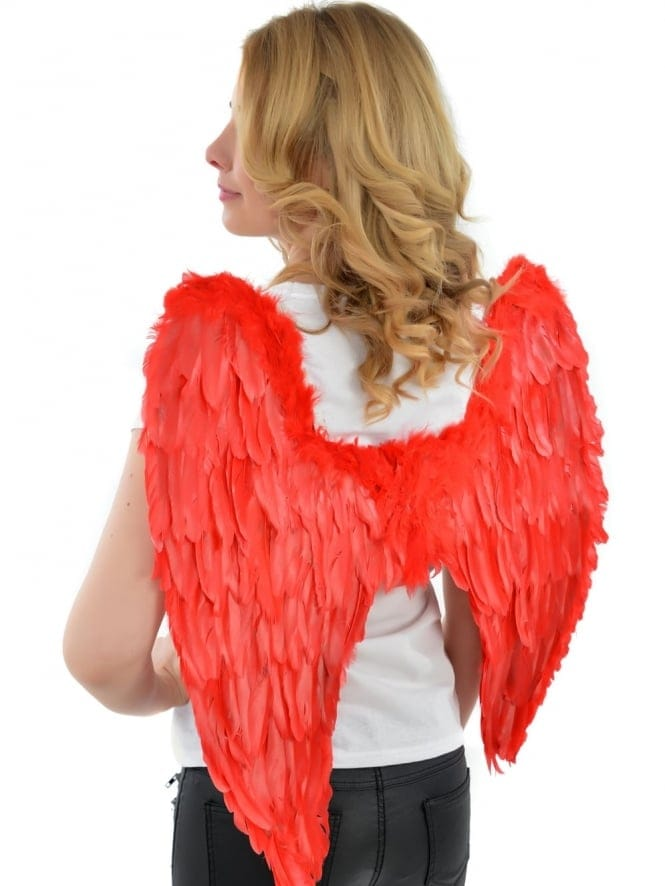 Fancy Dress Large Red Feather Angel Wings
