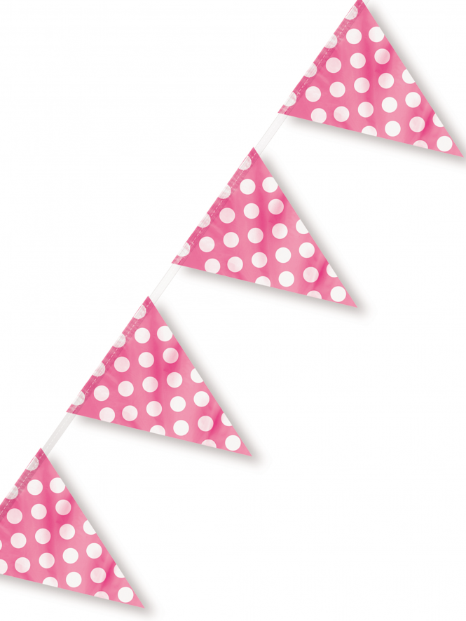 Polka Dot Flag Pendant Banner 12ft Hot Pink