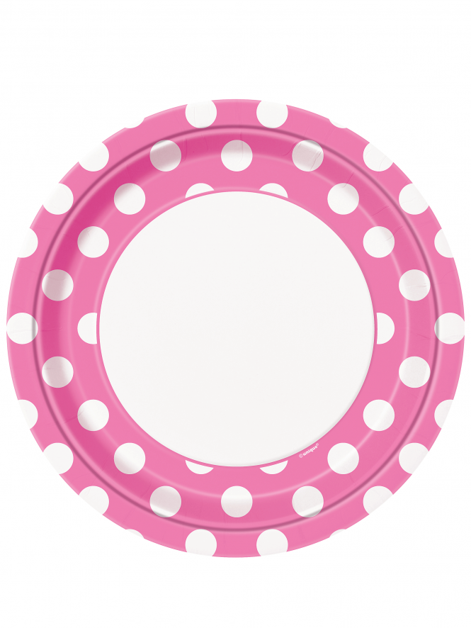 "Polka Dot 9"" Party Plates Hot Pink"