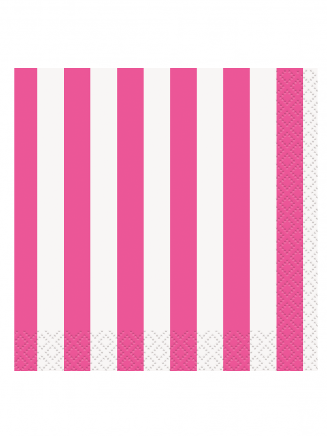 Striped Lunch Napkins Pack Of 16 Hot Pink