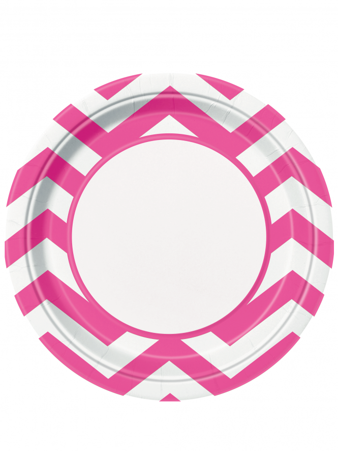 "Chevron 9"" Plates Pack Of 8 Hot Pink"
