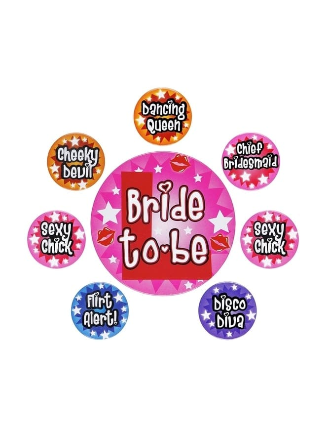 Hen Party Badges Pack Of 8