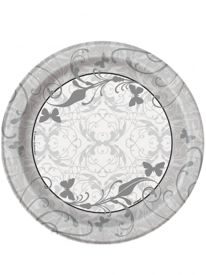 "Bridal Shower 7"" Plates Pack Of 8 Silver"