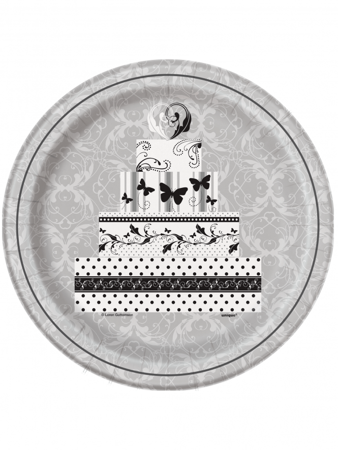 "Bridal Shower 9"" Plates Pack Of 8 Silver"