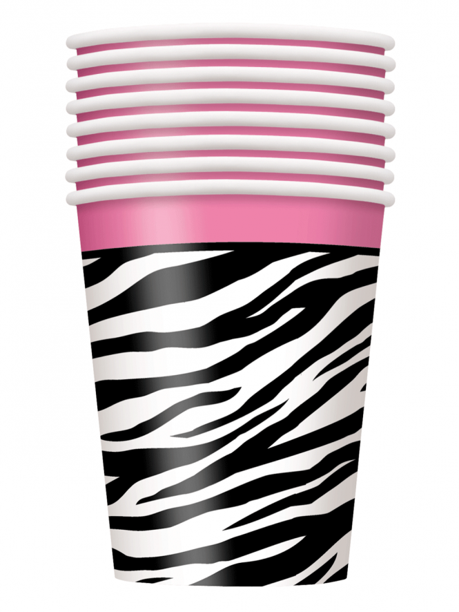 X8 Paper Cups Zebra Print Hen Party Cups /Tableware